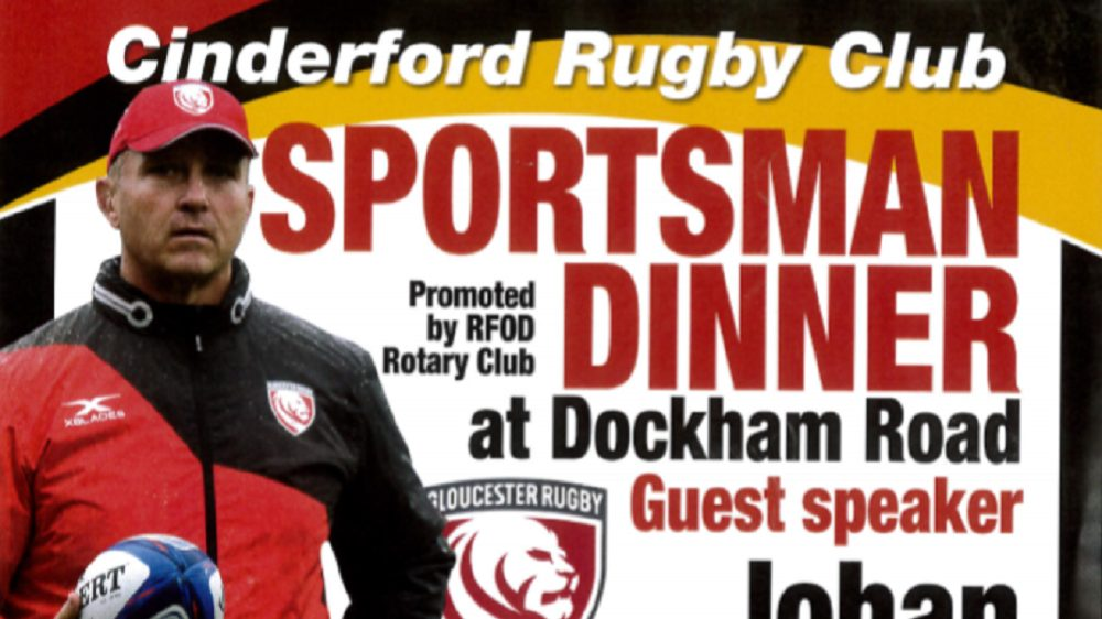 Cinderford Sportsman Dinner with Gloucester head coach Johan Ackermann